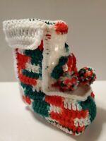 Vintage Crochet Boot Stocking Red White Green Christmas Home Decor