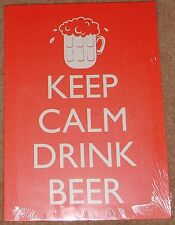 "Keep calm and drink beer, on a red background 13"" x 18"" Canvas reduced"