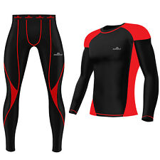 Mens Compression Tights Top Set Armour Base Layer Gym Fitness Under Full Suit Red Shirt 2xl