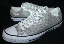 NEW Converse All Star Sneakers Shoes Silver Sparkle Low Womens 13 Mens 11