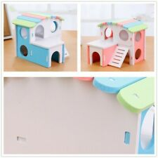 1PC Small Pet Guinea Pig Hamster House Wooden Cabin Climb Play House Cage Toy
