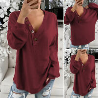 Women Long Sleeve Tops Buttons Shirt Casual Plain Ladies Blouse Tee Plus Size