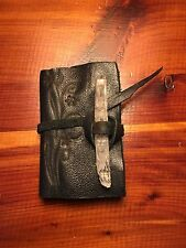 New one of a kind handmade black leather book with crystal and burned design