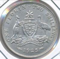 Australia 1925 Florin 2/- George V (Silver) - Exra Fine
