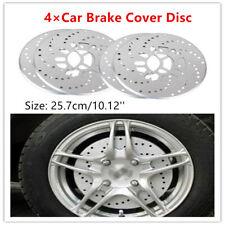 4PCS Car Disc Brake Rotor Covers Stylish Design Silver Aluminum Cross Drilled