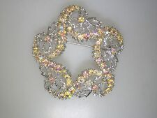 BEAUTIFUL VINTAGE 1950'S FOILED AB RHINESTONE PIN/BROOCH!