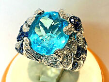 14KT. White Gold Diamond Cocktail Ring with Blue Topaz & round Sapphires.6.5
