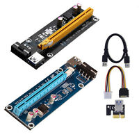 USB 3.0 Pcie 1x To 16x PCI-E Express Extender Riser Card Adapter Power BTC Cable