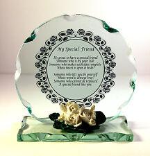 Amigo Especial Regalo Regalo para Navidad inusual Poema Placa De Cristal Tallado #8