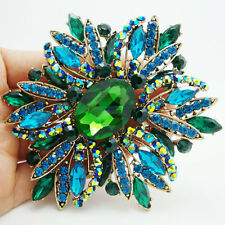 "HUGE 3.97"" RUNWAY GREEN BLUE FLOWER BROOCH MADE WITH SWAROVSKI CRYSTALS - NEW"