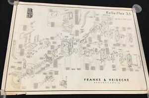 Exploded Diagram / Schematic Rolleiflex 3.5 TLR Franke & Heidecke OEM Poster