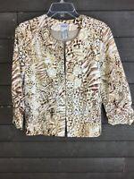 Chico's 139 Beige White Animal Print Jacket Blazer Women's 2