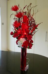 Bright Red Artificial Bouquet in GLASS vase 20 LED lights weddings,conservatory