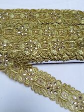 ATTRACTIVE ETHNIC INDIAN BEADED LACE BORDER WITH CRYSTALS FLORAL PATTERN- 1 MTR