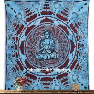 Bohemian Buddha Turquoise Cotton Bed Cover Indian Throw Queen Mandala Tapestries