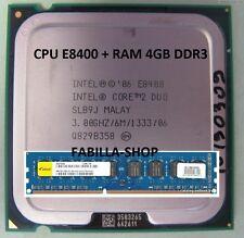 CPU INTEL CORE DUO 2 E8400 SK 775 64BIT 3.00GHZ/6M/1333MHZ + RAM 4GB DDR3 1333