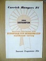 1976 ECWC 2nd RD 1st Leg Souvenir Programme- CARRICK RANGERS v SOUTHAMPTON