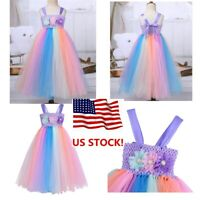 Kids Girls Princess Fancy Dress Rainbow Tutu Skirt Costume Party Cosplay Outfit