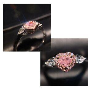 Damenring in Silber Zierkonia in Pink Steinchen Glitzer Herz Verlobungsring