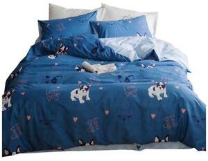 OTOB Full Queen Duvet w/ 2 Pillow Cases Love Dogs French Bulldogs Kids Bed Cute