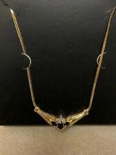 10K Gold Genuine Diamond & Blue Sapphire Gemstone Fixed Pendant Necklace
