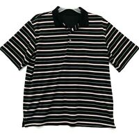 George Polo Golf Shirt Mens Size L Large Black Striped Short Sleeve Dry Fit