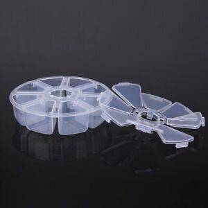 Round 8 Compartment Plastic Storage Box Case Pill Jewelry Beads Craft Holder