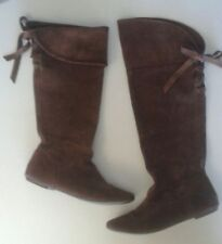 Steve Madden Touring Brown Genuine Suede Flat Knee High Boots Sz 8
