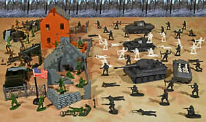 """WWII Battle of the Bulge Playset #2 - """"Town Defense"""" - 54mm Plastic Toy Soldiers"""