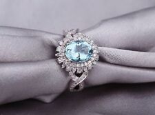 14KT White Gold Certified 2.85Ct Aquablue  Nice Oval Cut Diamond Engagement Ring