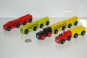 IKEA Wooden Train Engine & Cars Lot x9 Colors like Thomas Friends Railway, BRIO