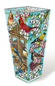 "Cardinal Birds Vase AMIA 9"" High Vase Hand Painted Glass New Neighborhood Block"
