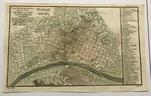 LIMA PERU 1760 NICOLAS BELLIN DETAILED ANTIQUE PLAN  18e CENTURY