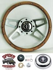 """1970-1973 Mustang steering wheel PONY 13 1/2"""" WALNUT FOUR SPOKE steering wheel"""