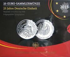 """25 EURO Silber Gedenkmünzen VfS Blister """"Deutsche Einheit"""" BRD 2015 PP Proof -J-"""