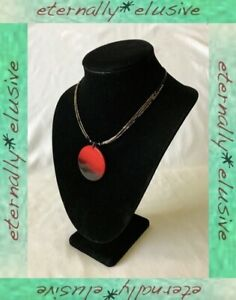 Red Dyed Mother of Pearl MOP Statement Pendant Carnival Glass Tube Bead Necklace