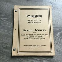 Wurlitzer Automatic Phonograph Service Manual