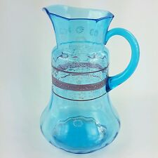 Antique Glass Pitcher with Enamel Flowers