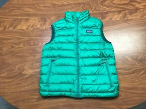 BOYS USED LIGHTLY WORN PATAGONIA GREEN ZIP UP DOWN PUFFER VEST YOUTH SIZE MEDIUM