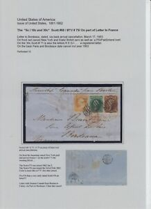 US # 71 / #68 and #75 on registered front letter to France, rare combination