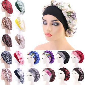 Night Sleeping Cap Hair Bonnet Hat Head Cover Satin Wide Band Chemo Cap Scarf