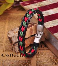 G205-02 Surfer Handmade Hemp & Leather Braided Wristband Bracelet Cuff Mens New