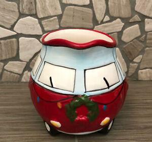 Christmas VW Bus Small Ceramic Milk Pitcher Planter / New