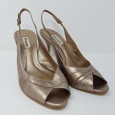 DUNE Dark Gold Leather Sling Back Peep Toe Heels - EU Size 39 - UK Size 6