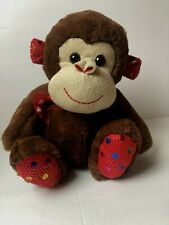 Monkey  Stuffed Animal Inter-American Products Brown  red Heart Ribbon Sequence