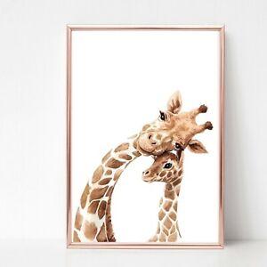 giraffe family Print picture UNFRAMED print wall art a4 colour 4 safari