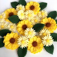 Yellow Daisies Bouquet Edible Sugar Flowers Cake Decorations Mothers Day Cupcake