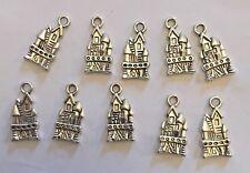 Silver coloured Princess Castle pendant x 25