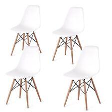 Set 4 Sedie mod. DSW bianca in polipropilene e gambe in legno di faggio per sala