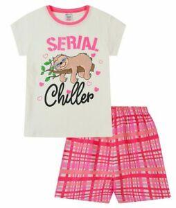 Girls Sloth Short Pyjama Set Serial Chiller Older Kids Pjs Ages 11-16 Years